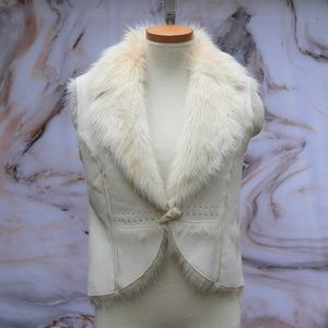 Vintage Vegan Suede Fur Collar Vest Sz S